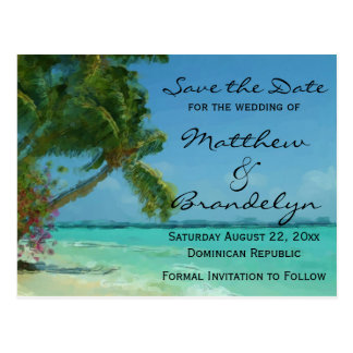 Palm Trees Ocean Save the Date Postcards