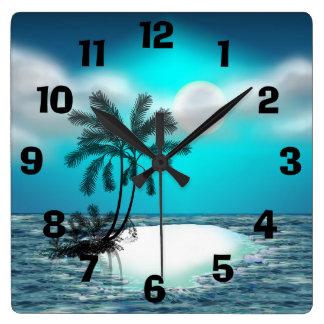 Palm Trees on a Tropical Island Clocks