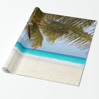 Palm Trees on Beach Blue Sea & Sky