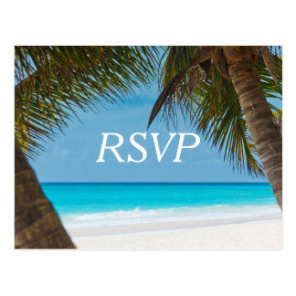 Palm Trees On Beach Wedding RSVP Postcards