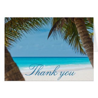 Palm Trees On Beach Wedding Thank You Cards