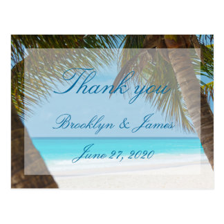 Palm Trees On Beach Wedding Thank You Postcards