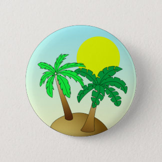 Palm trees on blue with sun 2 inch round button