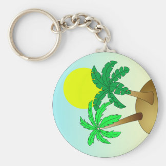 Palm trees on blue with sun basic round button keychain