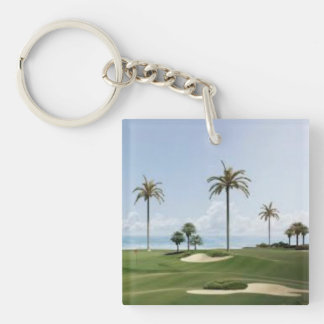 palm trees on golf course Single-Sided square acrylic keychain