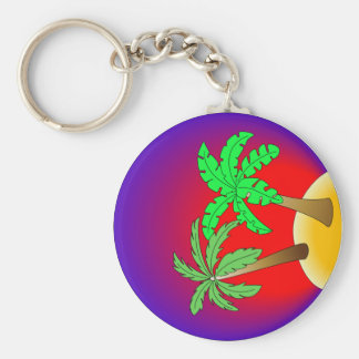 Palm trees on red and purple basic round button keychain