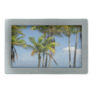Palm Trees on Sunny Key Biscayne Rectangular Belt Buckle