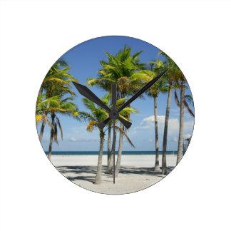 Palm Trees on Sunny Key Biscayne Round Clock