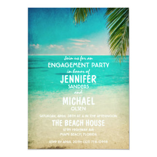 Palm Trees on the Beach Engagement Party Invite