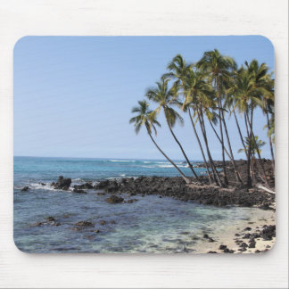 Palm trees on the beach mouse pad