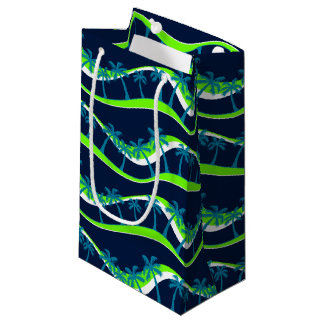 Palm trees on waves small gift bag