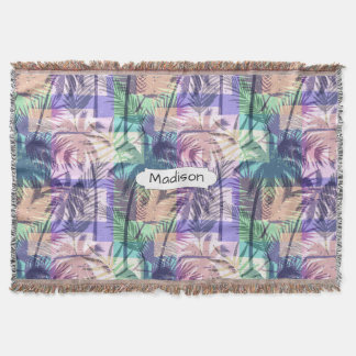 Palm Trees Pattern custom name throw blanket