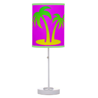Palm Trees Pink Table Lamp