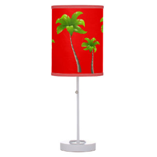 Palm Trees Red Table Lamp