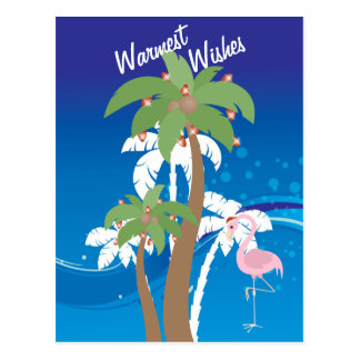 Palm Trees, Santa Flamingo Beach Christmas Holiday Postcard