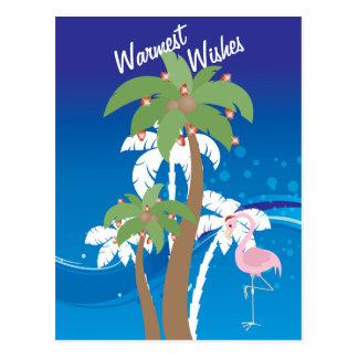 Palm Trees, Santa Flamingo Beach Christmas Holiday Postcard