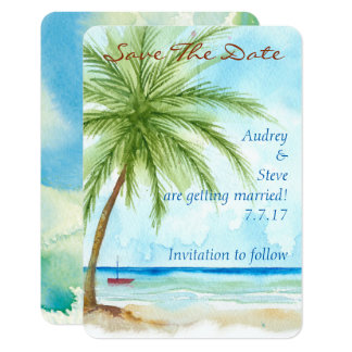 Palm Trees Save The Date Card