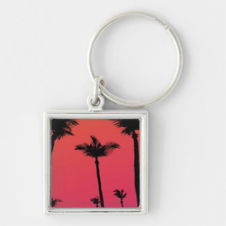 Palm Trees Silhouettes at Sunset Silver-Colored Square Keychain