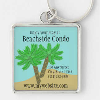 Palm Trees Silver-Colored Square Keychain