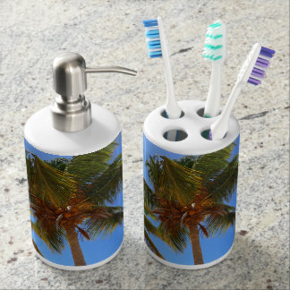 Palm Trees Soap Dispenser And Toothbrush Holder