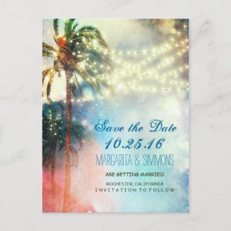 palm trees string lights beach save the date announcement postcard