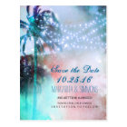 palm trees string lights beach save the date postcard
