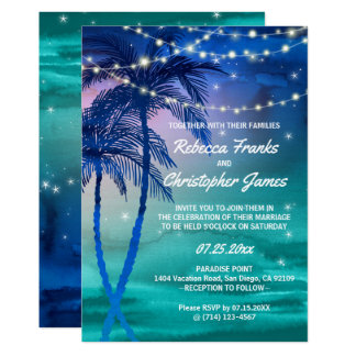 Palm Trees Strings of Lights Wedding Invitations