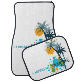 Palm Trees Sun & Circles CARIBBEAN Floor Mat