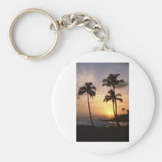Palm Trees, Sunset, Beach, Hawaii Keychain