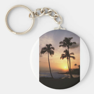 Palm Trees, Sunset, Beach, Hawaii Keychains