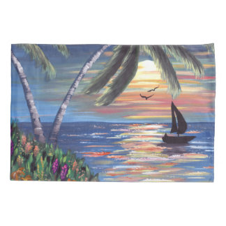 Palm Trees Sunset Ocean Painting Pillowcase
