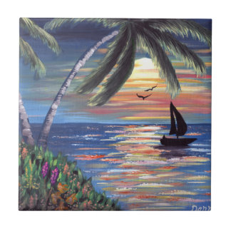 Palm Trees Sunset Ocean Painting Tile
