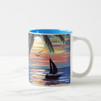 Palm Trees Sunset Ocean Painting Two-Tone Coffee Mug