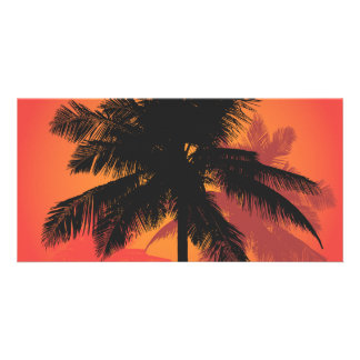 Palm Trees Sunset Silhouettes Photo Greeting Card