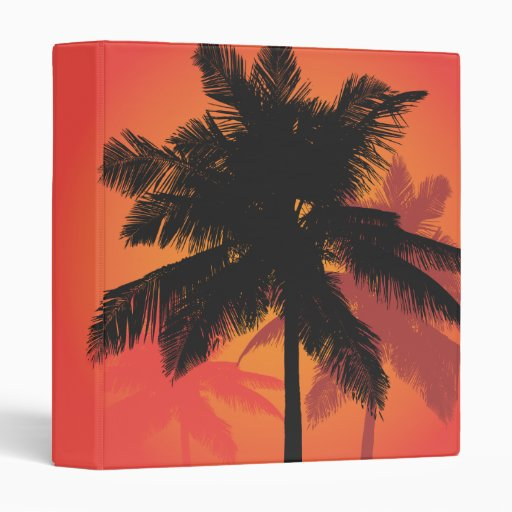 Palm Trees Sunset Silhouettes Vinyl Binders
