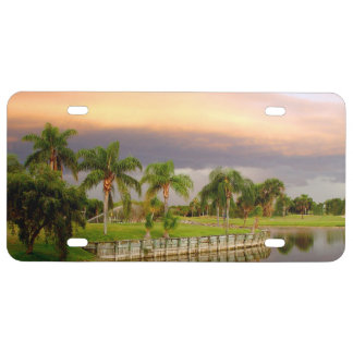 Palm trees Sunset tropical License Plate