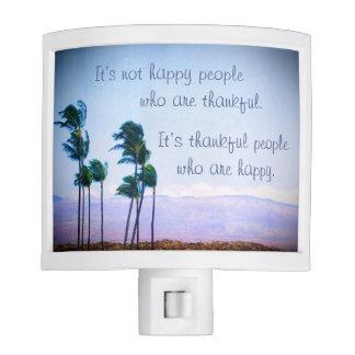 "Palm trees ""thankful"" quote photo night light"
