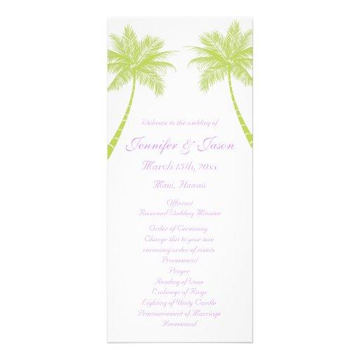 Palm Trees Tropical Beach Wedding Programs Rack Card Template