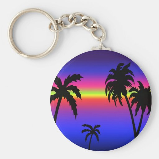 Palm Trees Tropical Sunset Keychain