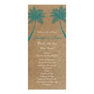 Palm Trees Tropical Teal Beach Wedding Programs Custom Rack Card