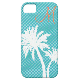 Palm Trees Turquoise Monogram iPhone 5 Covers