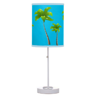 Palm Trees Turquoise Table Lamp