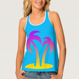Palm Trees Turquoise Women's Racerback Tank Top