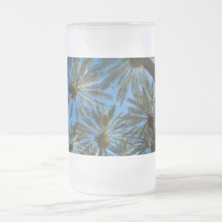 Palm Trees Umbrella Frosted Glass Beer Mug