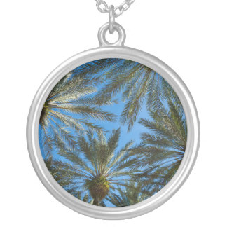 Palm Trees Umbrella Silver Plated Necklace