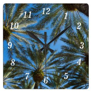 Palm Trees Umbrella Square Wall Clock