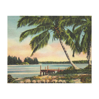 palm trees vintage canvas print