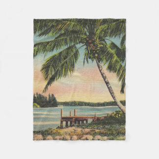 palm trees vintage fleece blanket