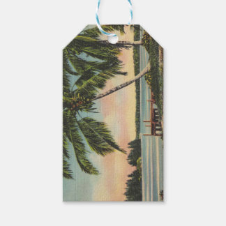 palm trees vintage pack of gift tags