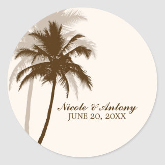 Palm Trees Wedding Classic Round Sticker